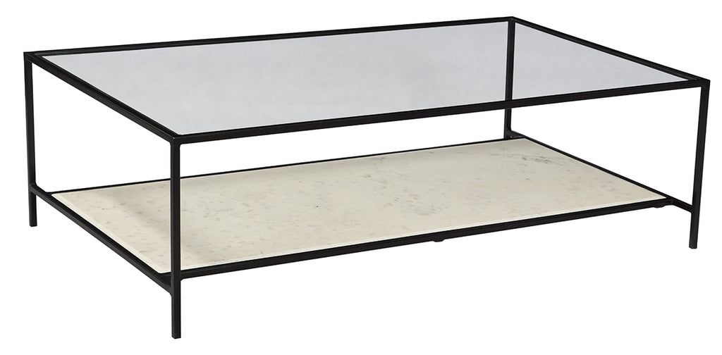 "The Ramos Coffee Table is a chic addition to any room with a glass top, gun metal black finish, and marble bottom shelf.  Size: 52""w x 28""d x 15""h"
