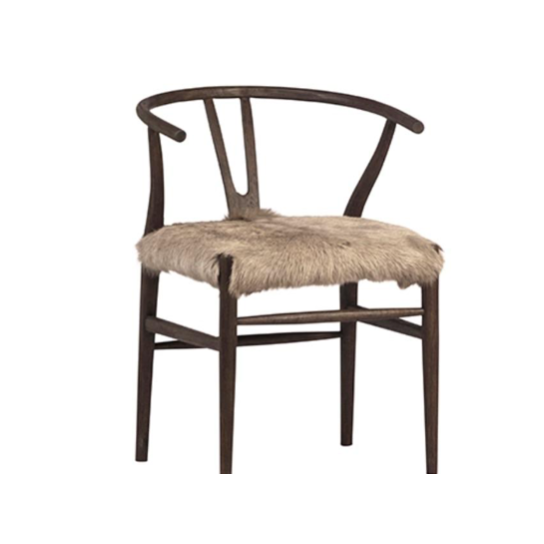 "Dramatic and bold! This Baden Dining Chair is perfect for adding fun style to your space.  Has a wishbone styled frame and the fur seat is soft, plush and eye-catching.  Oak wood frame, drifted matte brown Goat hide seat Size: 22""l x 23""d x 31""h"