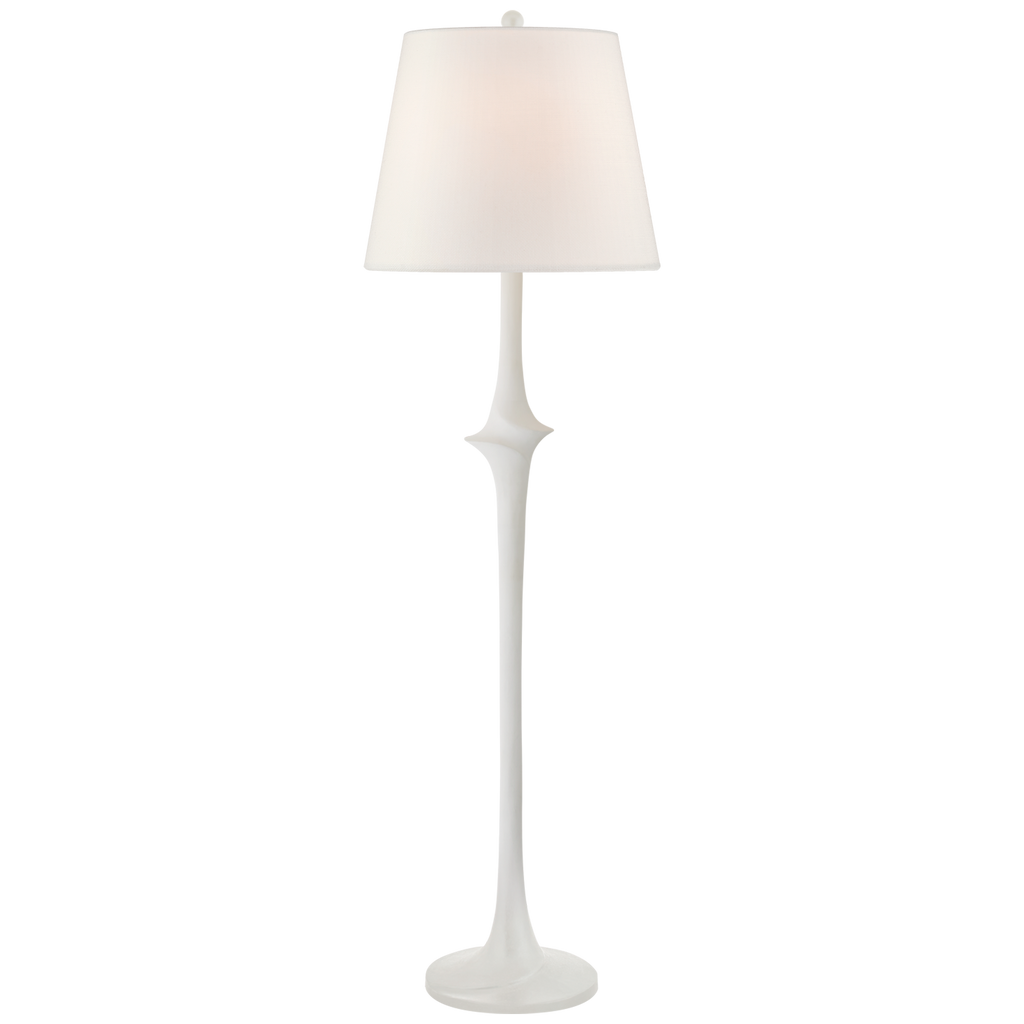 We love the detail in the middle of this Bates Large Sculpted Floor Lamp by Visual Comfort. The linen shade brings a soft, warm glow to any living room, bedroom, or other area needing extra light.  Designer: Chapman & Myers  Height