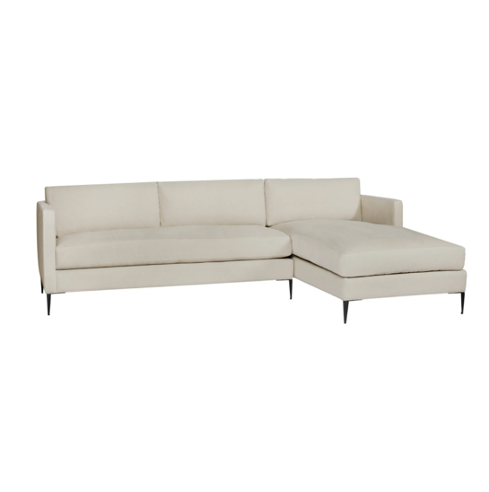 The Benedict Sectional is a modern design with clean lines and sleek metal legs in black rust. It has a fresh and functional aesthetic with no-sag support. It has a smaller scale footprint, making it ideal for apartment living and suitable for any occasion.  This beloved family furniture designer brand is our go-to choice for families with young children and pets. The organic linen & cotton fabric collection is machine washable (not dryer friendly -- please air dry!).
