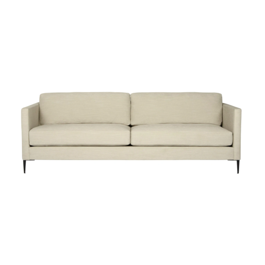 The Benedict Sofa is a modern design with clean lines and sleek metal legs in black rust. It has a fresh and functional aesthetic with no-sag support. As a small scale sofa, its ideal for apartment living and suitable for any occasion.  This beloved family furniture designer brand is our go-to choice for families with young children and pets. The organic linen & cotton fabric collection is machine washable (not dryer friendly -- please air dry!).