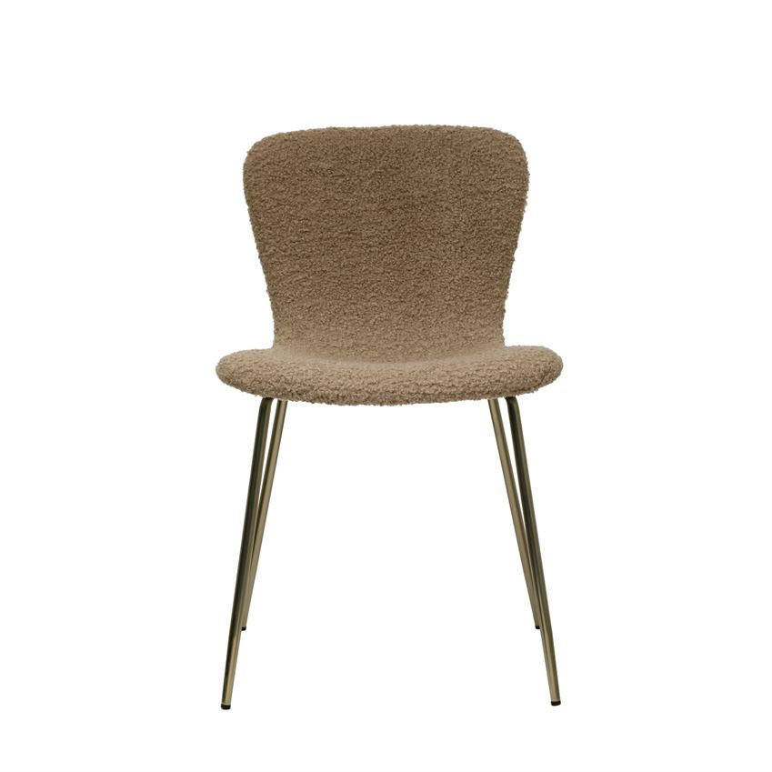 "We love the gold zipper found at the back of this Boucle Beige Chair. Sure to make a statement in your living room, dining room, or office.   Size: 18""w x 16""d x 30""h"