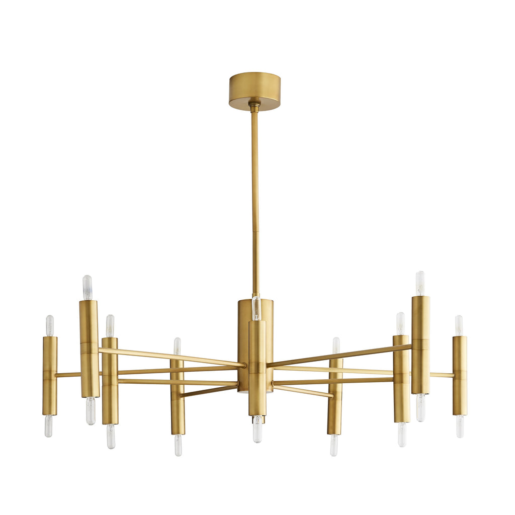 "We love the thin, cylindrical candle sleeves of this Bozeman Chandelier. A contemporary, sleek chandelier to add in your living room, entry way, or othear area needing extra light.   Size: 46""dia x 10.5""h"