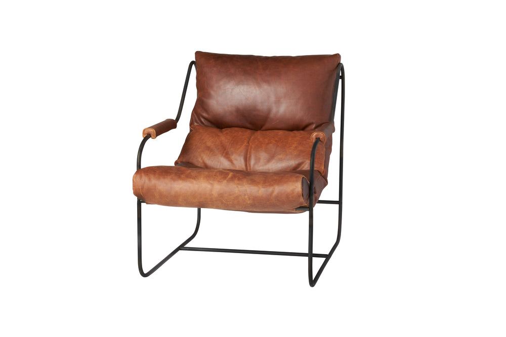 "Like ""sitting in an American baseball glove"" -- the Brando Leather Chair Set from Cisco Brothers was love at first sit in this unique chair! We compare the feel to sitting in a hammock. As shown in Spur Terracotta leather.  Size: 27""w x 36""d x 32""h Seat space: 25""w x 19""d x 17.5""h Ottoman: 25""w x 20""d x 16.5""h"