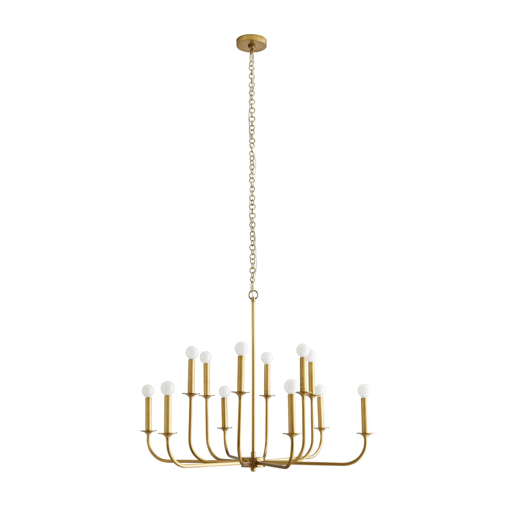The Breck Small Chandelier features steel arms that curve upwards, reaching from a center point at two different heights to create a double tier effect. Hang over your dining table or in a living room to elevate the whole space.