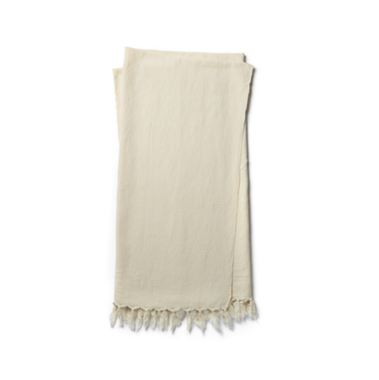 "With its casual sensibility and timeless appeal, Brody Ivory Throw by ED is the perfect finishing accent for any room. Brody is handcrafted in India of linen and cotton.  Size: 4'2"" x 5'  Handcrafted Linen 