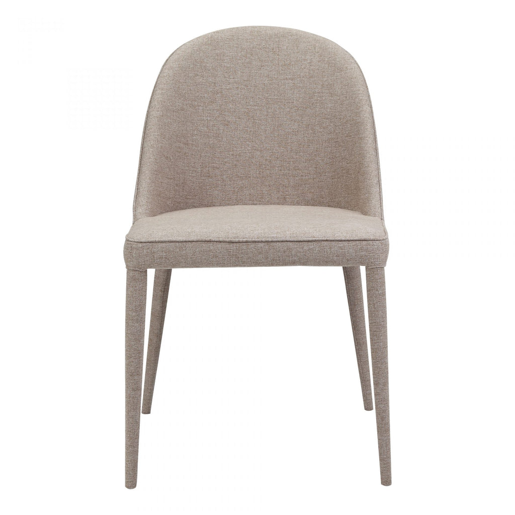"The slim legs of this Burton Light Grey Fabric Dining Chair give it a contemporary modern design. The foam cushion makes this an extremely comfortable and attractive dining chair.   Size: 19""W x 22""D x 33""H Seat Height: 18"" Materials: Upholstery 100% Polyester, Iron Frame, Plywood, Foam"