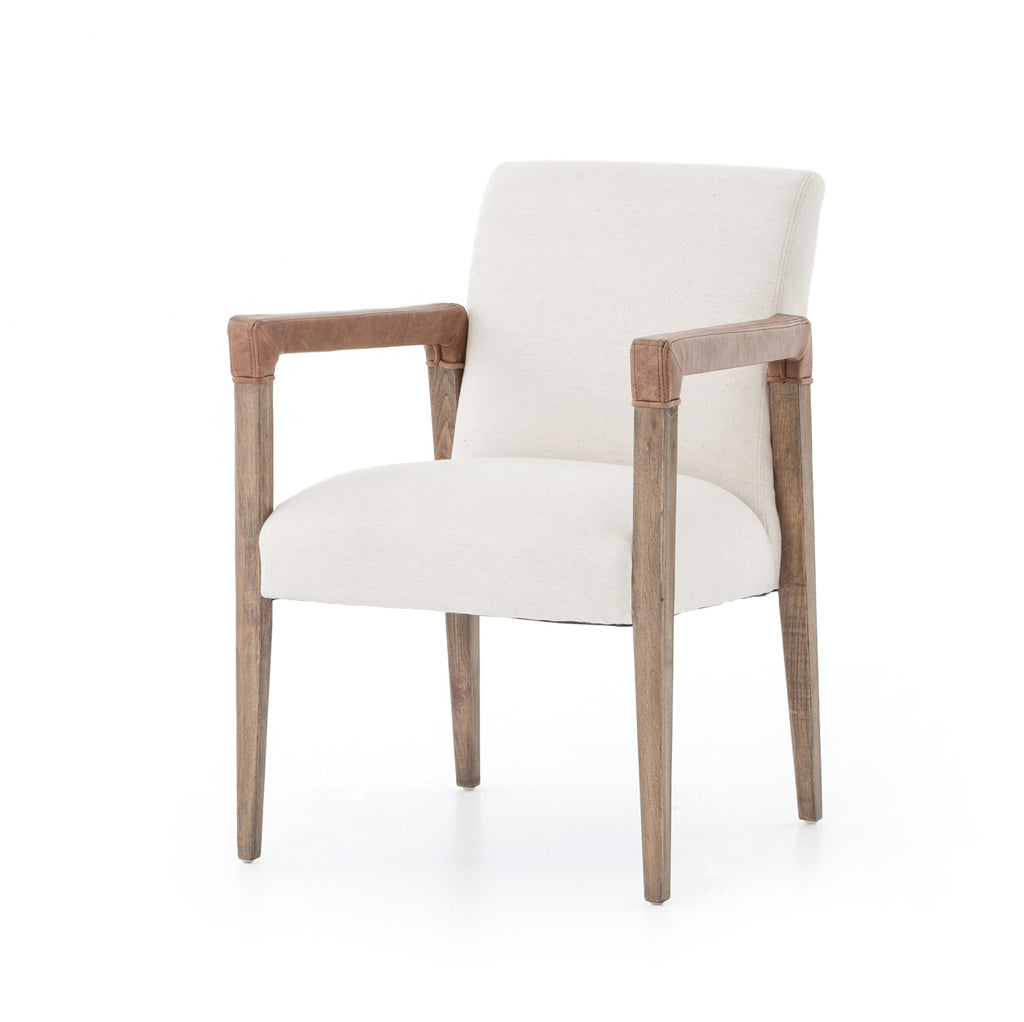 Reuben Dining Chair with Leather Arms - Amethyst Home