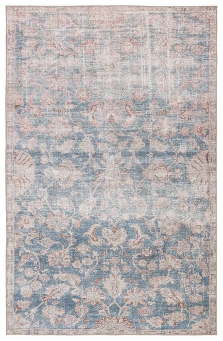 A unique combination of antique rug designs and the durability of an indoor/outdoor construction, the Chateau collection offers vintage vibes to any space. The Bardia area rug boasts a vintage Oushak and meandering border design in stunning hues of vibrant blue, soft pink, and brown. This zero-pile rug is made of weather-resistant polyester for a flat, durable finish.  Power Loomed  100% Polyester CHT07 Chateau Bardia Rug