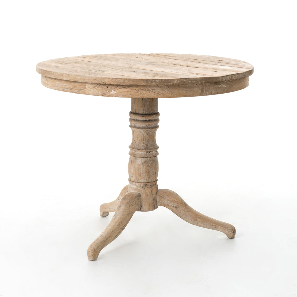"Occasionally, you need a little table just like this. The Round Whitewash Occasional Table is French-inspired and perfectly sized with substantial turned pedestal and curved tripod feet in lightly whitewashed wood.  Available for shipment Early October 2020.  Overall Dimensions: 35.5""w x 35.5""d x 29.25""h Materials: Elm"