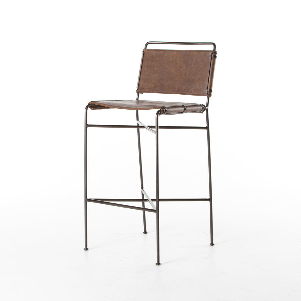 "Slim lines and mixed materials combine for ample comfort. Architecturally inspired steel tubing is graced by simply contoured distressed brown seating.  Overall Dimensions: 20.75""w x 24.25""d x 44.00""h Seat Depth: 15.25"" Seat Height: 30.25"""