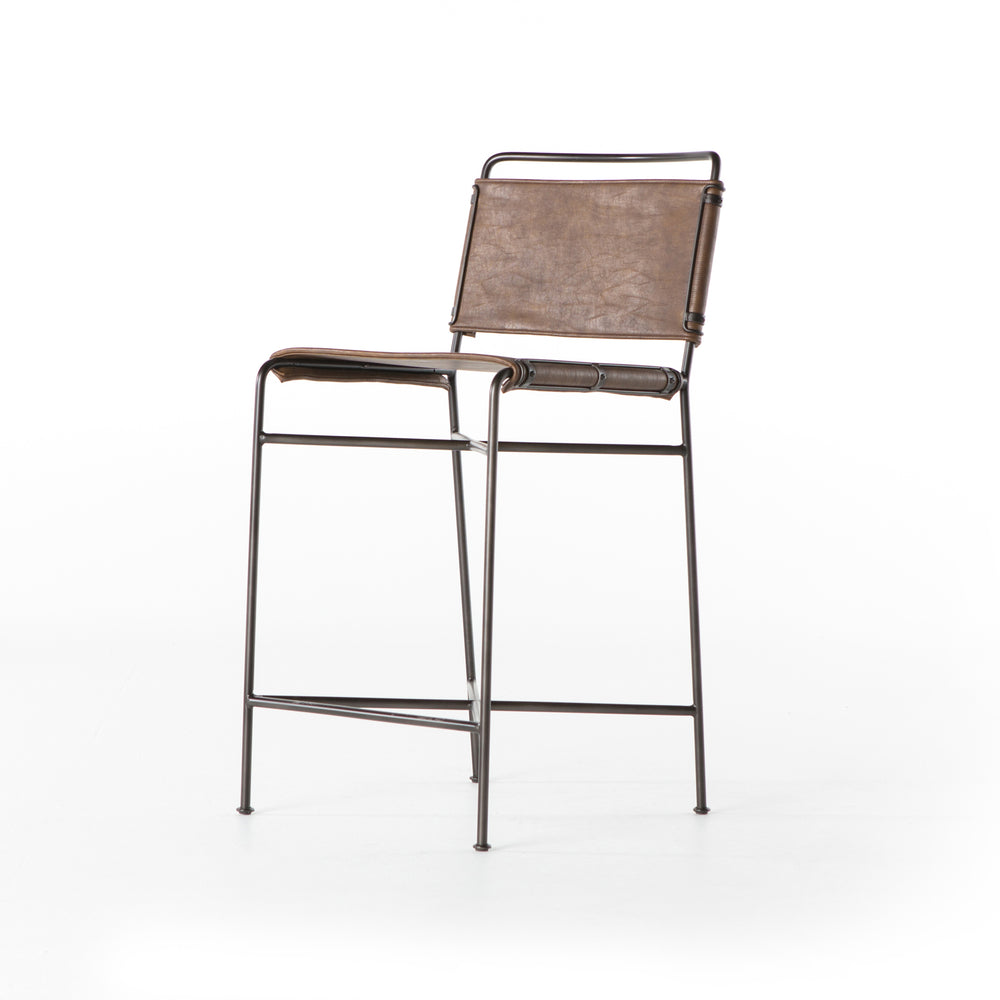 "Slim lines and mixed materials combine for ample comfort. Architecturally inspired steel tubing is graced by simply contoured distressed brown seating.  Overall Dimensions: 20.50""w x 24.25""d x 40.00""h Seat Depth: 15.25"" Seat Height: 26.50"""