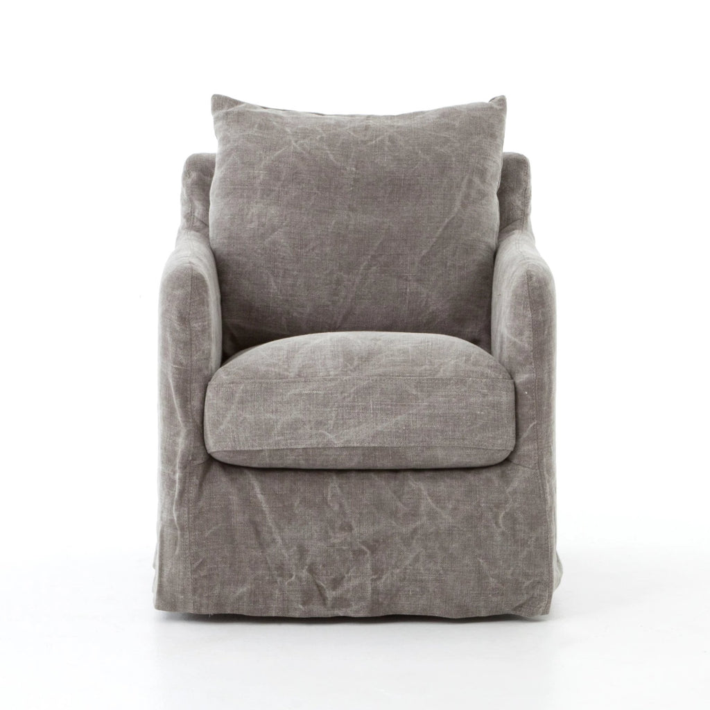 "Stonewashed jute fabric -- this swivel chair is casual & comfortable!  A modern take on the swivel chair is small in scale and big in comfort. Luxuriously slipcovered in a stonewashed heavy jute.  Dimensions: 26""w x 33.75""d x 34.25""h Seat Depth: 20.87"" Seat Height: 18.50"" Arm Height from Floor: 23.62"" Arm Height from Seat: 5.12""  Materials: 100% Jute Color: Stonewash Heavy Jute Taupe"