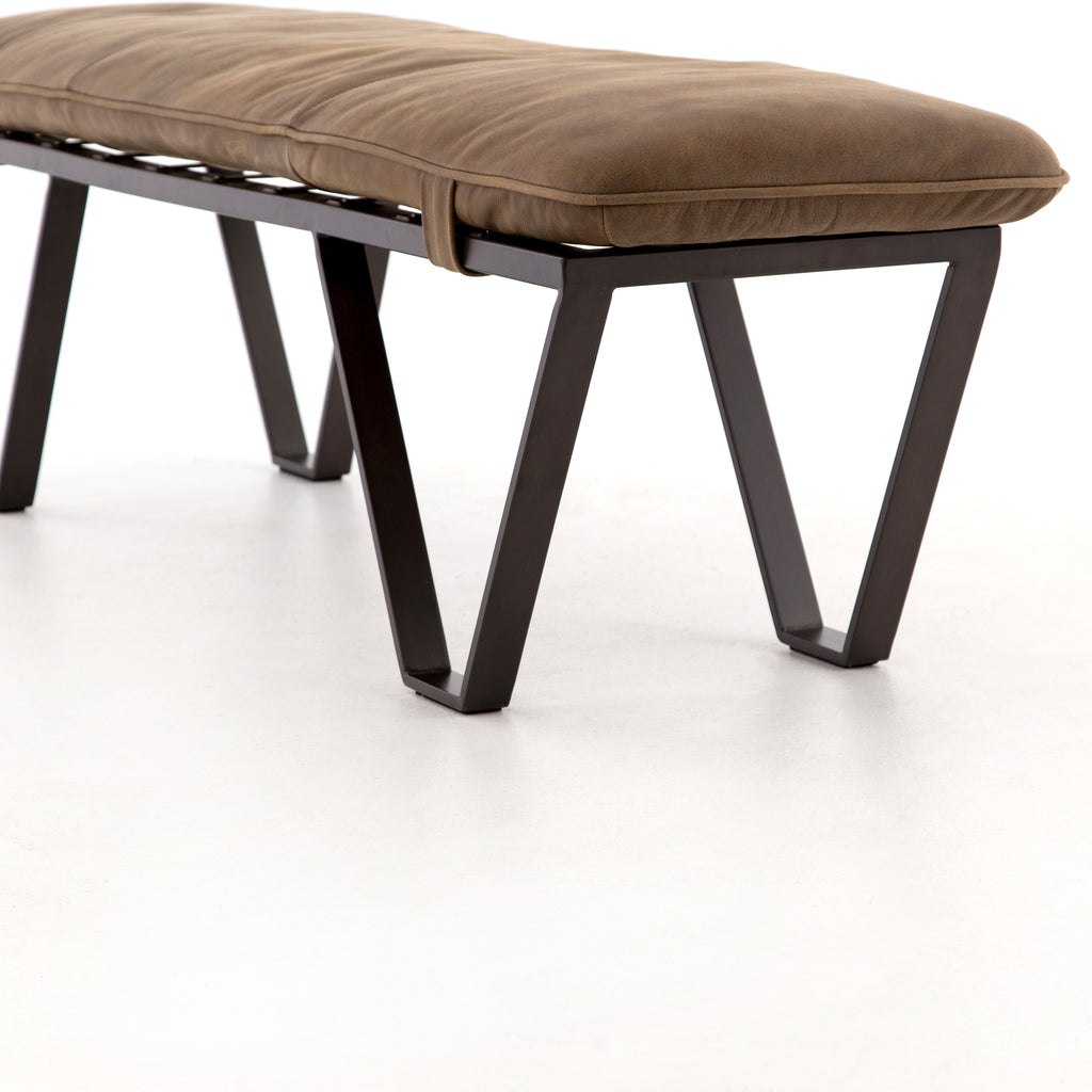 Darrow Bench -  Umber Grey Leather - Amethyst Home