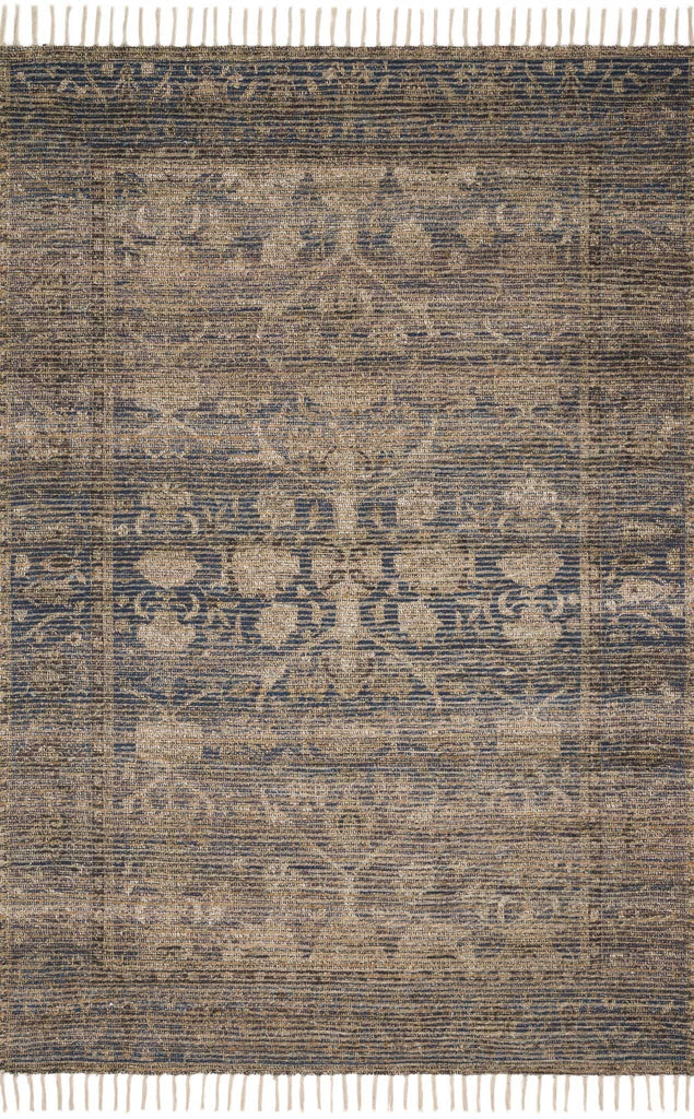 Cornelia Indigo/Natural Rug - Amethyst Home Soft, durable and textured, the Cornelia Collection features a ribbed texture and generous fringe that lends a casual, yet up-to-date aesthetic. Cornelia is printed in India of jute and chenille, ensuring a comfortable feel underfoot. Designed by Justina Blakeney for Loloi.  Hand Woven 50% Jute | 50% Polyester India COR-02 Indigo/Natural