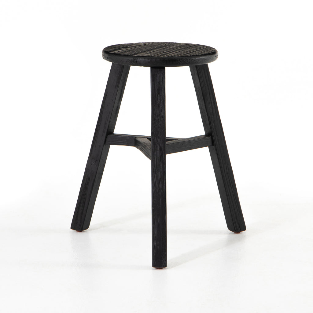 Hattie Black Round Accent Stool