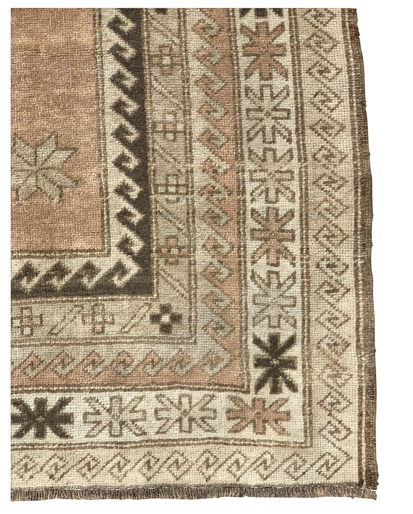 The Cali Vintage Area Rug is in beautiful condition and size. This hand knotted vintage Turkish Oushak area rug is easy to care and maintain and will have very little shedding. The rug is a perfect fit for an entryway, bathroom, back door, laundry room, bedroom, or any other place!