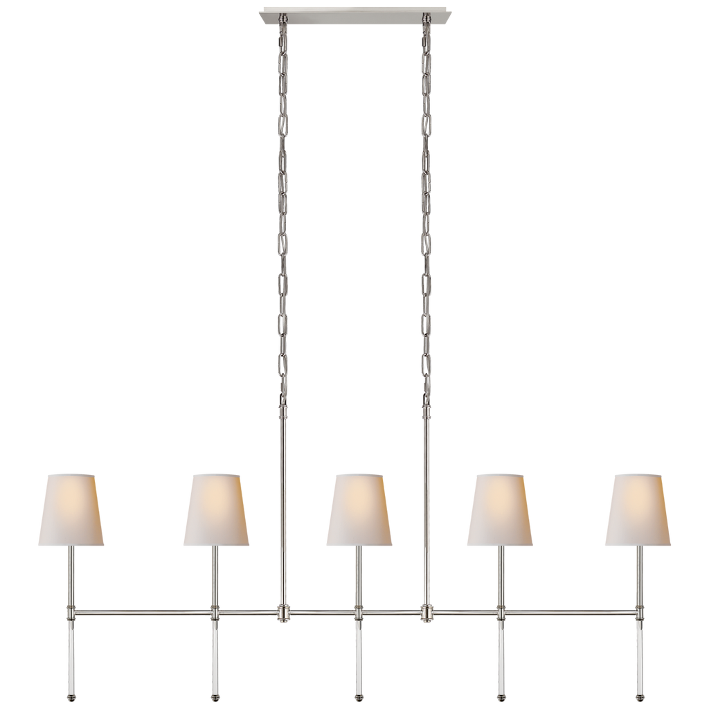 We love the slim, gorgeous arms of this Camille Medium Linear Chandelier by Visual Comfort. Place over an island or dining room to give your space a warm, elegant look  Designer: Suzanne Kasler