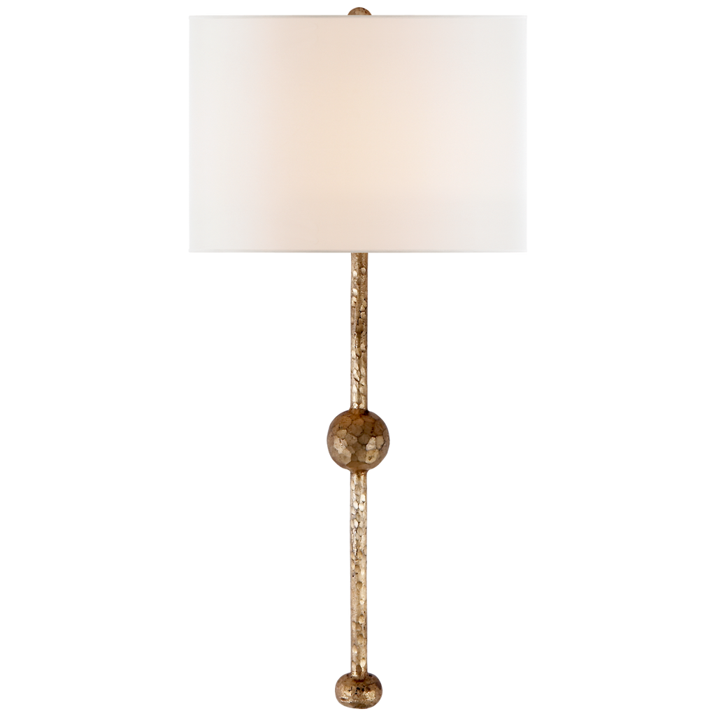 We love the hammered look to this Carey Rail Sconce by Visual Comfort. The thin design and bulb detail found at the middle and end make this an attractive choice for your living room, bedroom, or hallway.    Designer: Suzanne Kasler