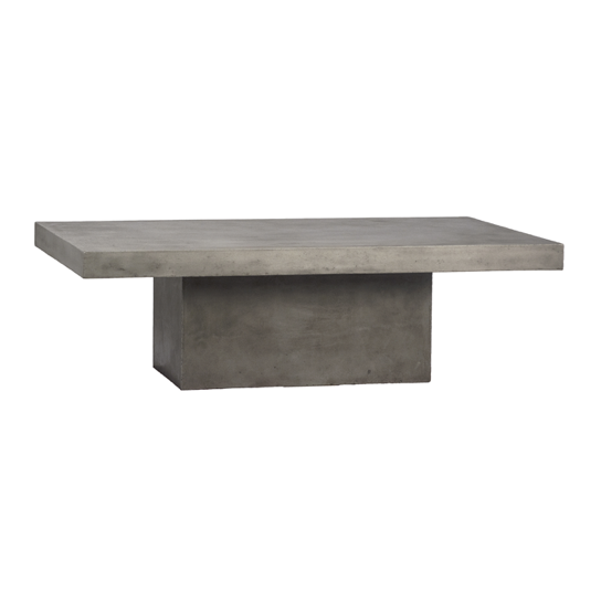 This Chandler Rectangle Coffee Table is simple but exceptional. Clean rectangle cement coffee table for a modern look that will blend well with any look.  GLASS FIBER REINFORCED CONCRETE WEATHERED CEMENT FINISH Length: 51 Depth: 32 Height: 16