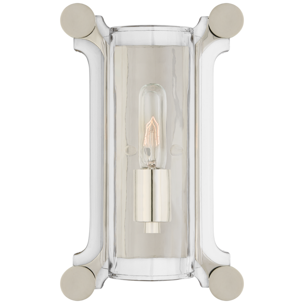 The Chirac Small Sconce has clear glass matched with the hand-rubbed antique brass or polished nickel finish. This is would look gorgeous along a hallway, bathroom, or other area needing a warm glow