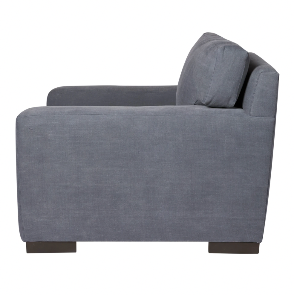 "The Loft Chair by Cisco Brothers strikes a modern silhouette with track arms and angular lines. This piece has a large scale and clean lines that is classic without being too traditional. The down seat imbues this elegant modish piece with comfort and would complete any living room or lounge area. Photographed in Denim White and Molino Slate.  Overall: 40""w x 39""d x 29""h"