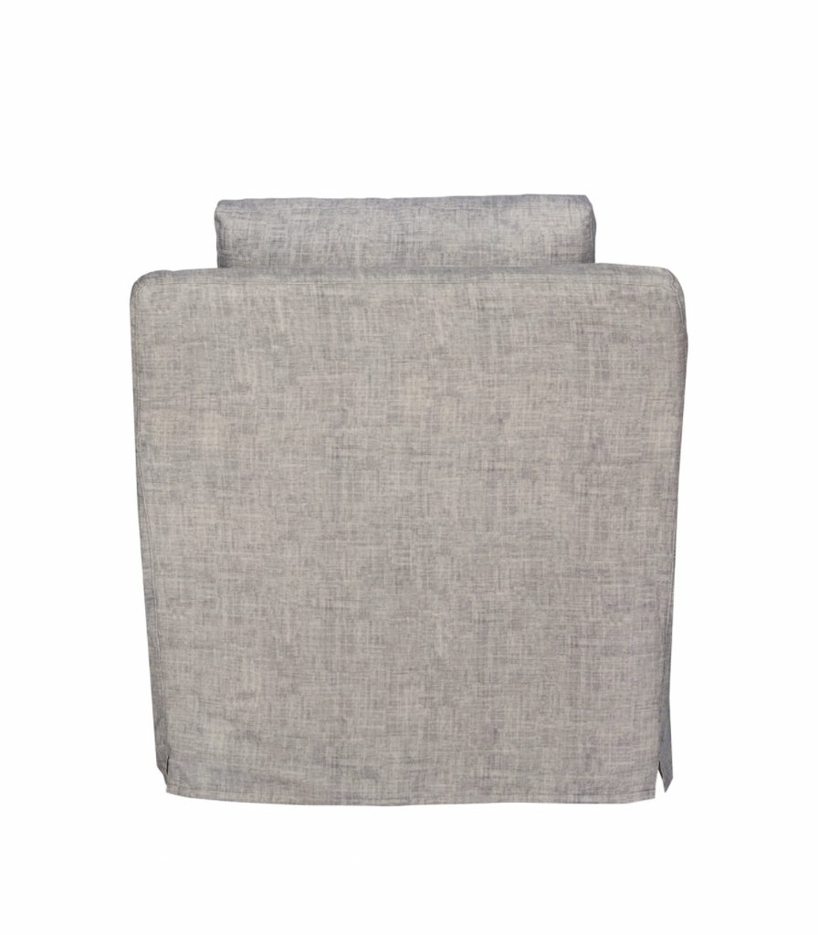 "This deep and low resting Malibu Chair is one of our absolute favorites by Cisco Brothers!  As shown slipcovered Nolita Denim, a similar fabric to Brevard Rose 100% linen, and Brevard Burlap.   Size: 33""w x 29""h x 39""d"