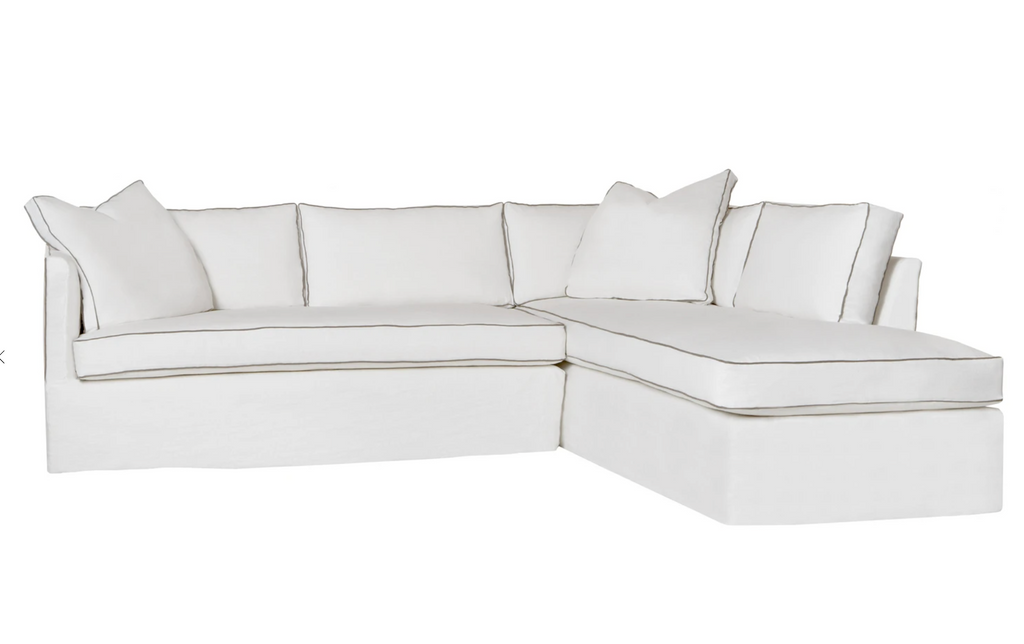 "The Renata 2pc Slipcovered Sectional- Essentials has clean lines and a soft back.  It has a modern essence and elegance that lends inviting appeal to your seating ensemble in your living room or den.   Overall: 111""w x 90""d x 30""h"