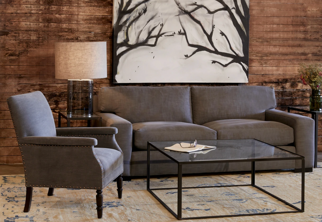 This Loft Sofa Family by Cisco Brothers is a shop favorite -- simply beautiful and so comfortable for the modern family!  Enjoy this sofa upholstered or slipcovered.  Down filled back cushions are a breeze to fluff and reshape. Photographed in Mariet Natural. Lifestyle Shot in Molino Slate.