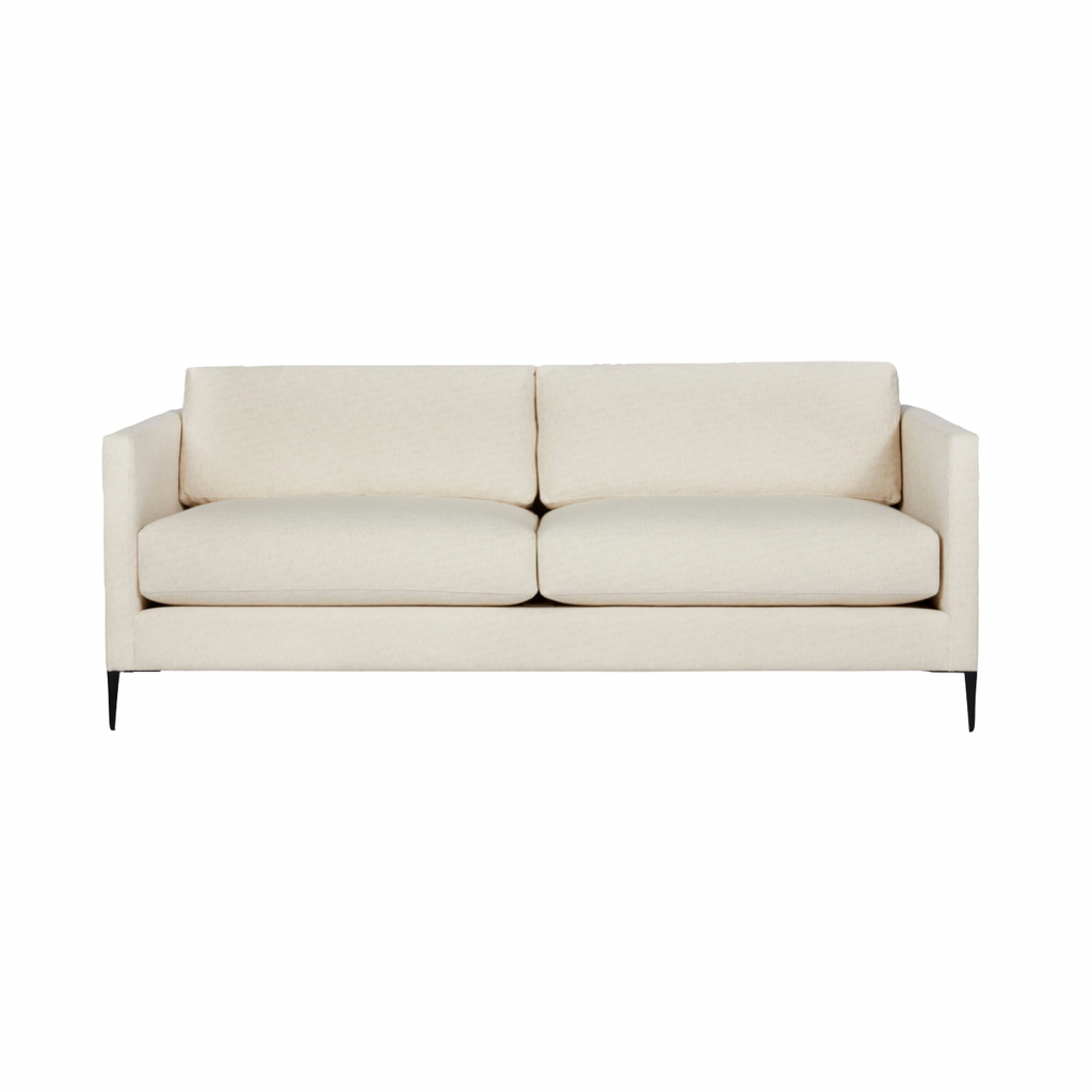 "The Benedict Upholstered Sofa Family - Essentials by Cisco Brothers is a modern design with clean lines and sleek metal legs in black rust. It has a fresh and functional aesthetic with no-sag support. As a small scale sofa, its ideal for apartment living and suitable for any occasion.  Benedict 84"" Sofa: 84""w x 29""h x 36""d"