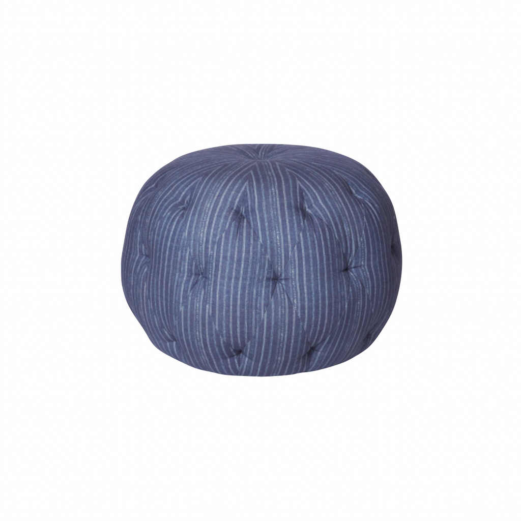 "We love the stitching detail on this Pouf 20"" Ottoman by Cisco Brothers. Place in your den, living room, or other entertainment area of your home and keep for years to come! Photographed in Bengal Pin Strip Indigo and Anvil Stone.   Overall: 20""dia x 15""h"