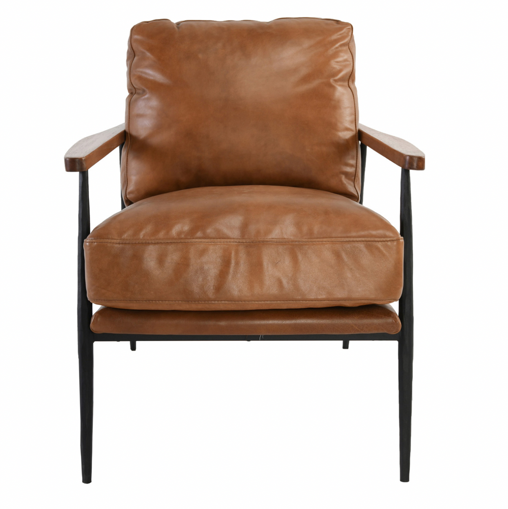 Flared legs give this chair a mid-century modern feel while full grain top leather upholstery offers luxurious comfort and durability.