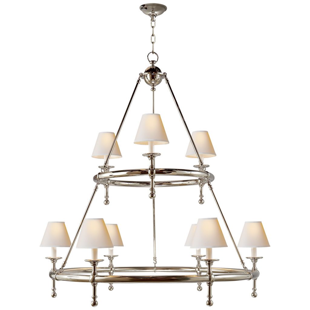 We love the two tiers of natural paper shades matched with the clean, circular shape of this Classic Two-Tier Ring Chandelier by Visual Comort. A timeless piece to add to your dining room, living room, or other large area.   Designer: E. F. Chapman