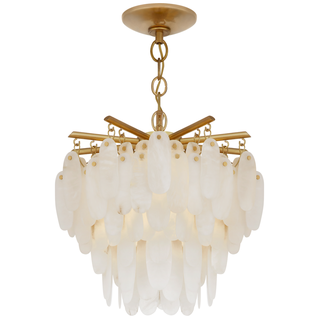 This Cora Medium Semi-Flush Mount from Visual Comfort is art in the form of lighting with its antique-burnished brass finish and hanging alabaster pieces. Sure to be an absolutely head-turner in any entryway, living room, or other large area  Designer: Chapman & Myers