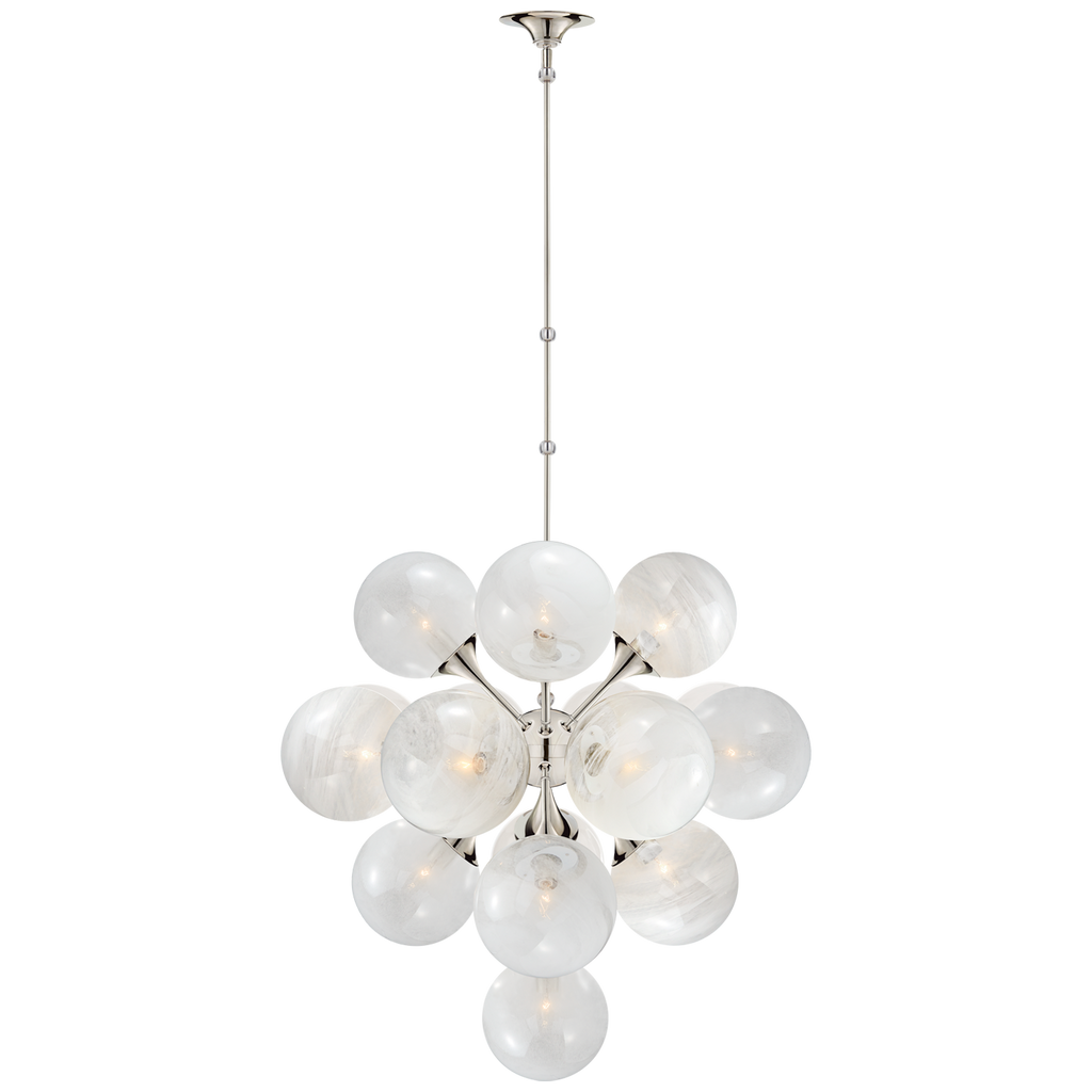 "We love the white strie glass globes on this Cristol Polished Nickel Large Tiered Chandelier. It brings a stunning and unique look to any living room, dining room, or kitchen  O/A Height: 62"" Min. Custom Height: 41"" Width: 33.25"" Canopy: 6"" Round"