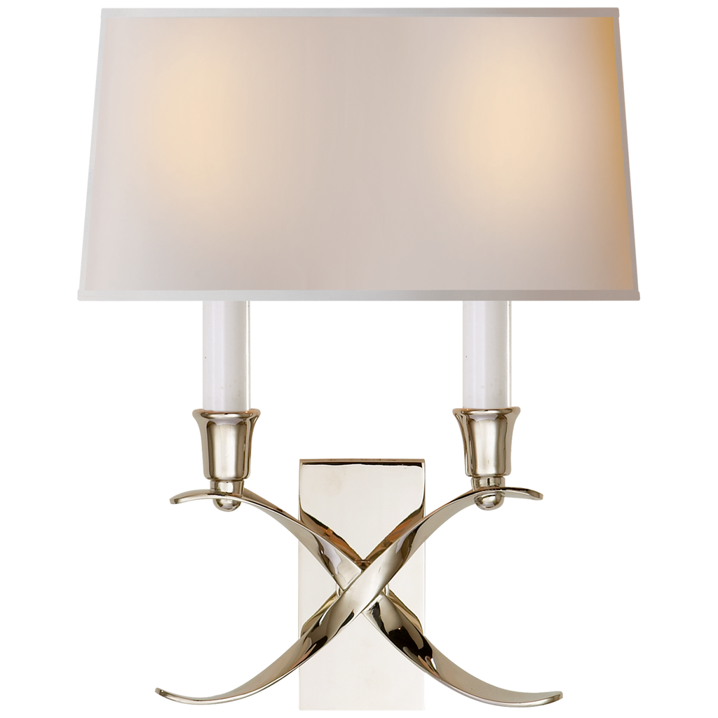 The Cross Bouillotte Small Sconce by Visual Comfort is an abstract beauty with the detailed cross and natural paper shade. This adds an elegant feel to any bedroom, living room, or other area needing extra lighting  Designer: E. F. Chapman