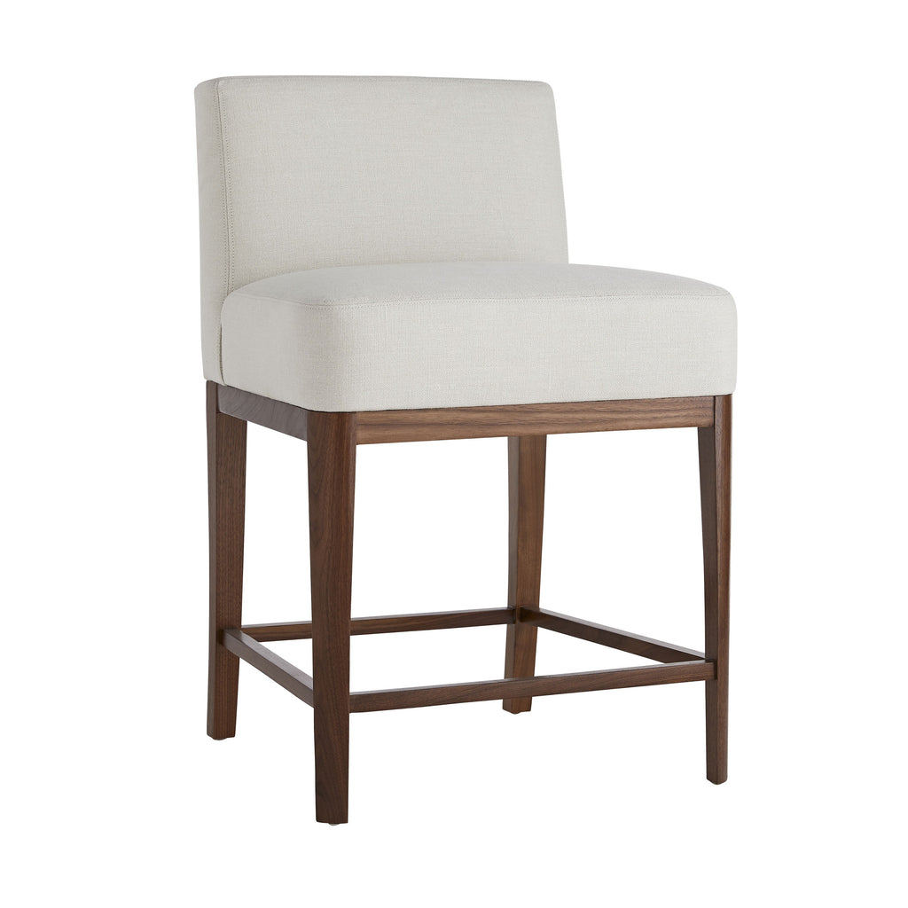 "The Tuck Counter Stool is the perfect perch, allowing guests to slide right up to the counter. The wide seat generously allows for comfort, encouraging friends and family to sink into for endless conversation around the kitchen. A neutral bone linen fabric paired with curved wooden legs lend a softness to the design, complete with a comfortable footrest.  Size: 34""h x 22""d x 22""w"