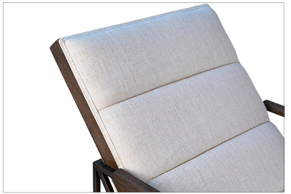 "The Karen Lounge Chair is a peaceful upholstered chair to relax in with its polyester and linen white seat. The brass metal frame adds style with a clean modern look.  Size: 26""w x 54""d x 33""h"
