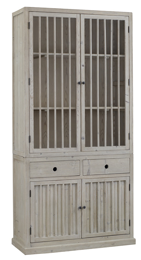 "The Dewey Cabinet is made of recycled pine with a grey white finish. Showcase your favorite china set or other family heirlooms  Size: 45""l x 18""d x 91""h"