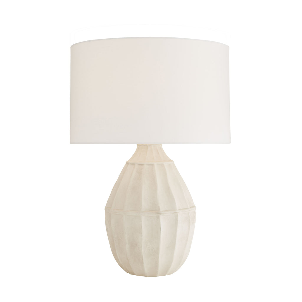 "The Tangier Egg Shell Lamp, with its gourd shape, was inspired by an Ethiopian string jar. Beth was drawn to its pleasing wabi-sabi form, both organic and architectural in feel and structure. Particular attention was paid to achieve its unique, subtle finish,inspired by Japanese ceramic traditions. The lamp's egg shell glaze exudes patina, a subdued and sophisticated element in any room.  Size: 20""d x 30.5""h"