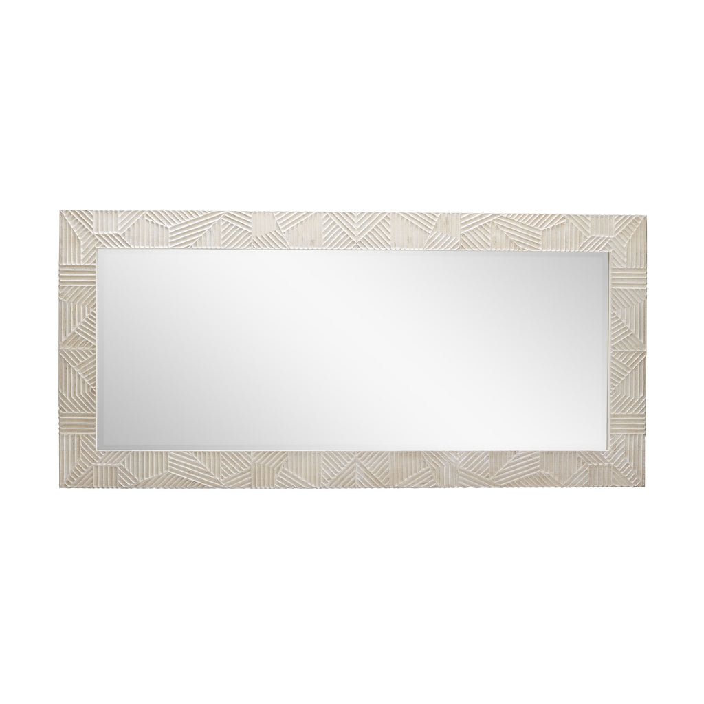 "This Marsh Floor Mirror is a textured, earthy dreamboat. We love how this can lean on the wall or be hinged to the wall  Size: 38""w x 2""d x 81""h Material: Carved Mango Wood, Mirror"