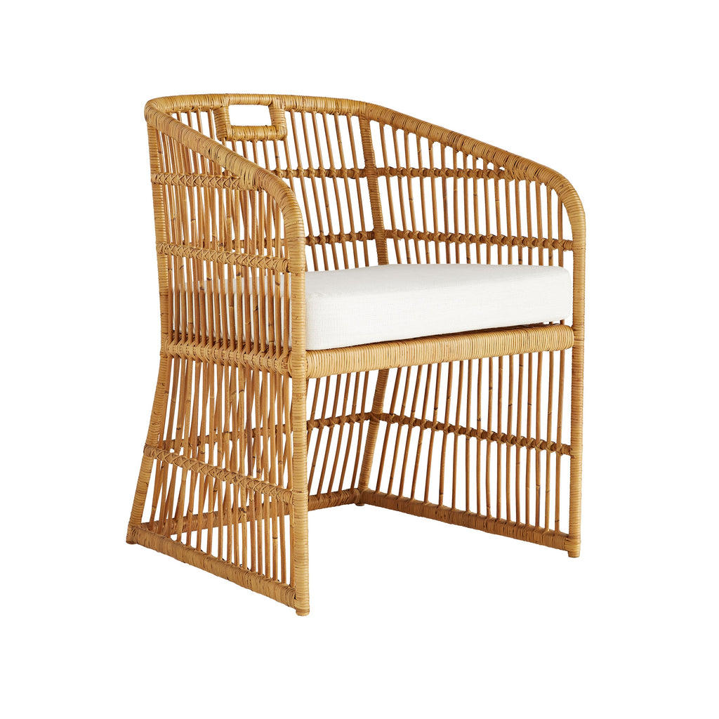 "The Lyford Natural Chair by Beth Webb Collection of Arteriors is made of rattan, making it extremely versatile, classic, and lightweight  Size: 24""w x 23""d x 31""h Material: Linen, Rattan"