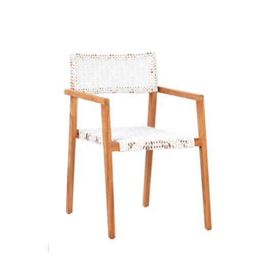 "Breathable open weave, TheDeeta Dining Side Chair is the perfect fit for arid and coastal climates alike. Generously proportioned seating features a solid premium teak frame.  Woven for visual and tangible lightness. Comes as a set of two.   NATURAL SANDED TEAK SYNTHETIC RATTAN WHITE WASH SEAT HEIGHT 18"" ARM HEIGHT 26 Length: 22 Depth: 24 Height: 33"