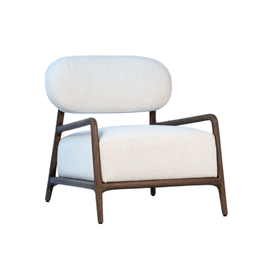 "Comfortable and sleek. This high contrast chair bridge the gap between mid century and contemporary. We love the exposed frame and natural wood combined with white fabric.   Dimensions: 28""L x 32""D x 30""H  Colors: Old wood grey, white upholstery Materials: Mindi wood frame, poly-linen fabric  Made in Indonesia"