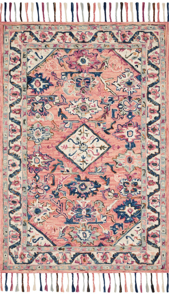 "Elka Rug - Pink/Multi - Amethyst Home Hooked of 100% wool by skilled artisans in India, this collection of transitional rugs is soft to the touch and displays whimsical floral motifs complemented by luxurious, braided tassels to perfectly complement any space.  Hooked 100% Wool ELK-04 Pink/Multi  Current restock lead time for the sizes below is Aug 20th: 3'6"" x 5'6"" 5'0"" x 7'6"" 7'9"" x 9'9"""