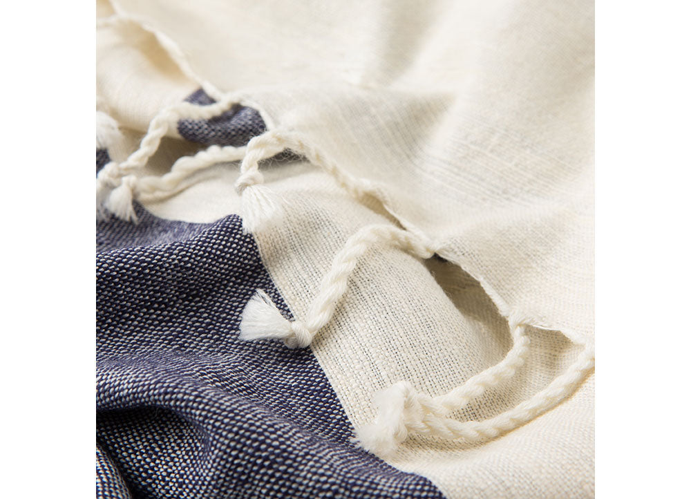 "This soft, hand-loomed throw is ideal for snuggling up on cool spring evenings. The hues retain a subtle excitement that goes with the blooms and blossoms of spring. The cotton material is woven in a modern dot weave pattern and finished with an artful frayed fringe. Simply pick your favorite color and enjoy the quality comfort. Shown in blue and ivory.  Materials: 60% Cotton / 40% Wool Size: 50"" x 60"""