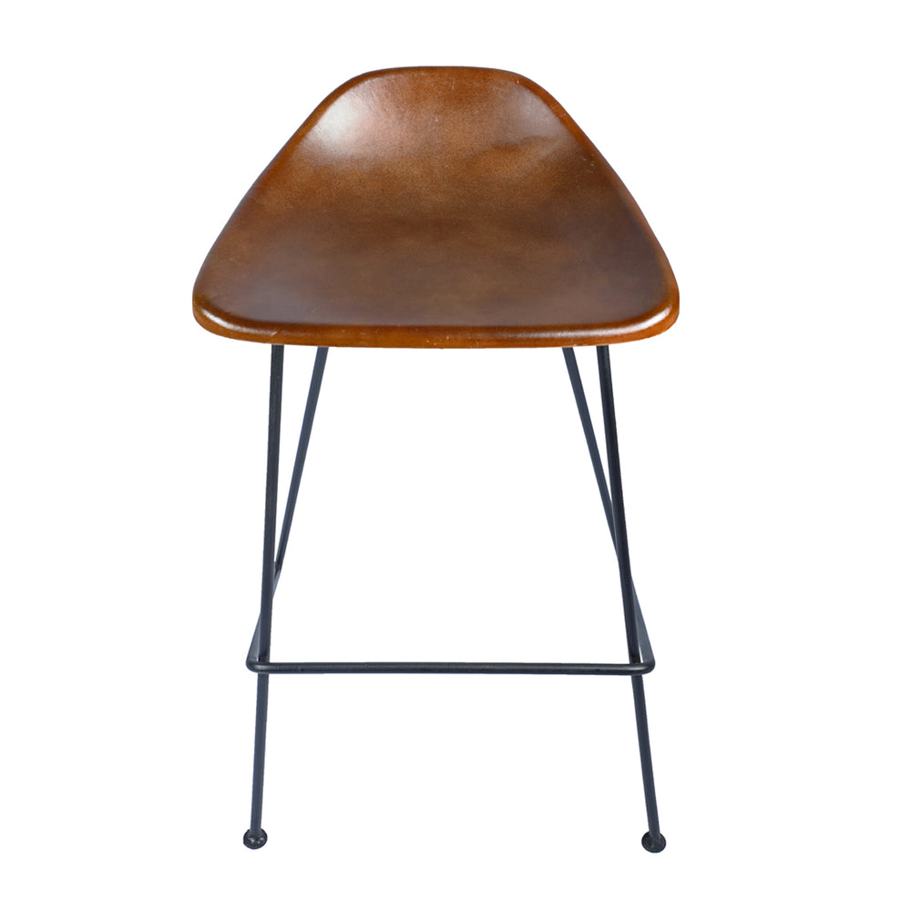 The Equestrian Counter Stool blends utilitarian and rustic design to evoke a modern style. The stool is supported with a gun metal frame and a comfortable brown leather seat.