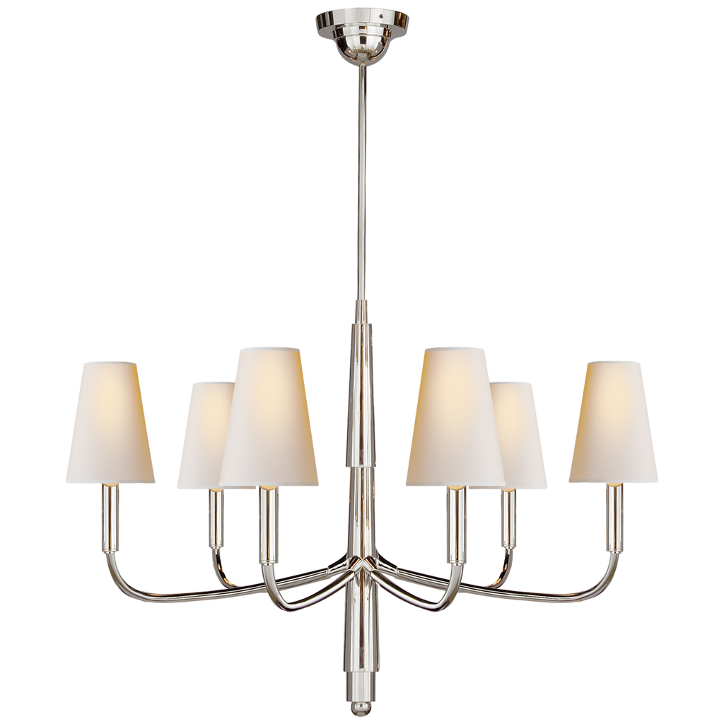 We love the gorgeous curved arms matched with the natural paper shades of this Farlane Small Chandelier by Visual Comfort. A timeless chandelier to place in the kitchen, over your dining table, or other large area  Designer: Thomas O'Brien