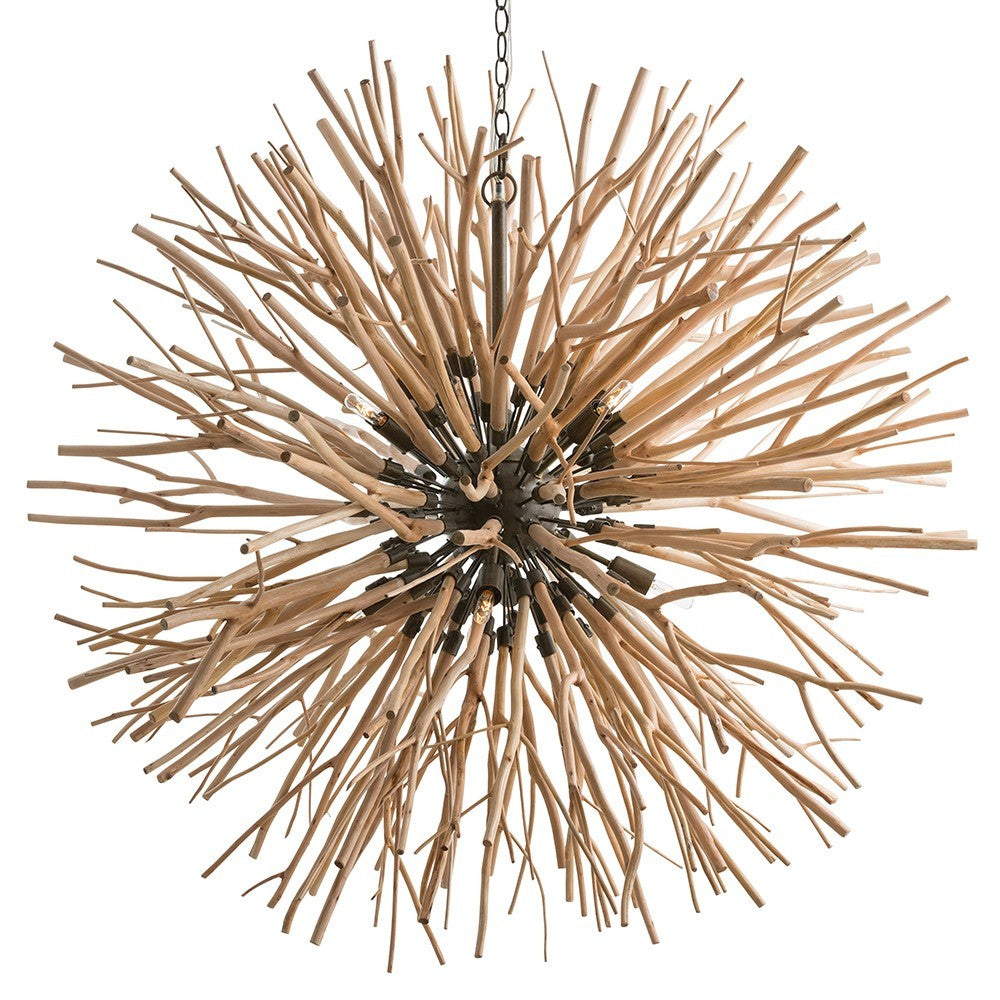 "We love the organic approach to lighting in this Finch Chandelier from Arteriors. The protruding branches add a statement to your living room, entry way, or other area needing a unique source of light.   Size: 43""W x 43""D x 45""H"