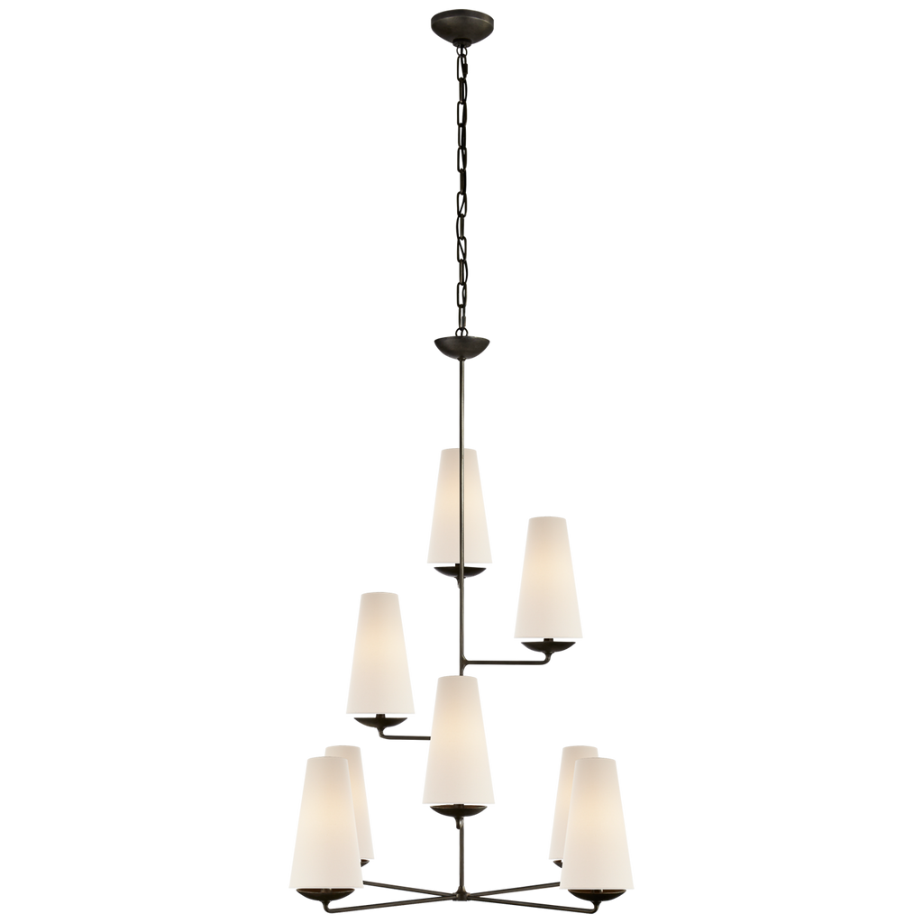 "The Fontaine Aged Iron Vertical Chandelier has a classy, layered look. The linen shades brings a warm light to any room  Height: 45.25"" Width: 34.25"" Canopy: 5"" Round"